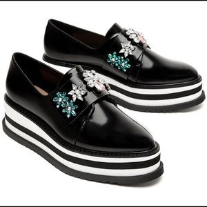 Zara Platform Derby Shoes With Beading